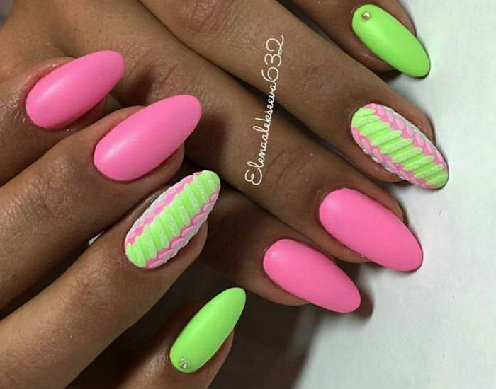 Дизайн ногтей фото розовый и зеленый