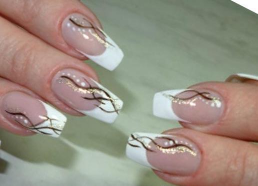 дизайн ногтей фото френч белый с рисунком