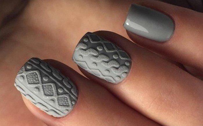 матовые ногти с вязанным дизайном