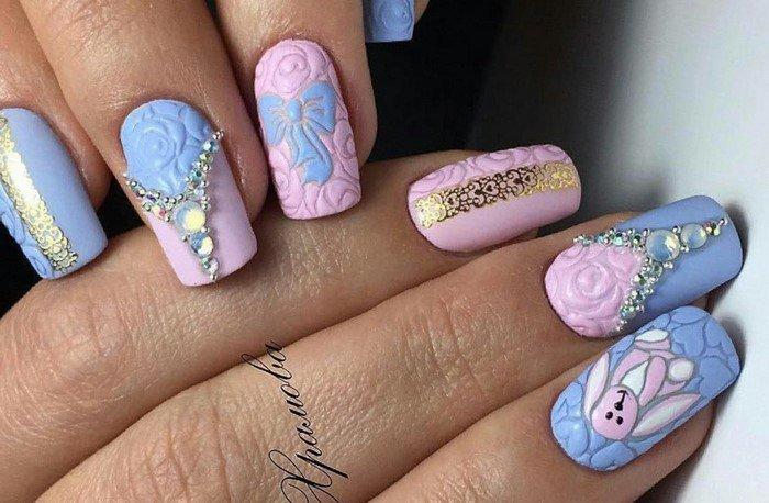 матовый выпуклый дизайн на ногтях