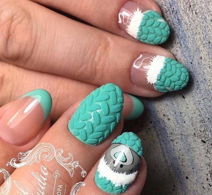 бирюзовые матовые ногти