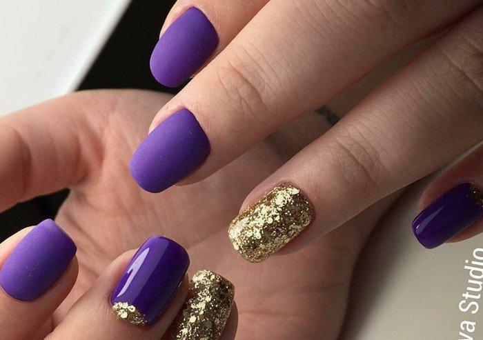 матовые фиолетовые ногти