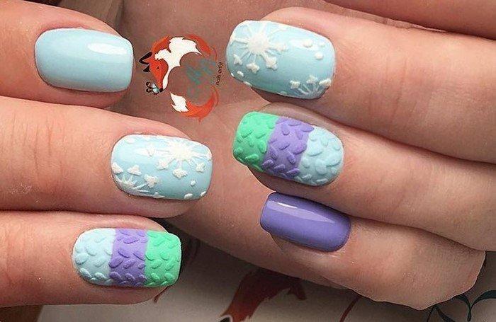 полосатые вязанные матовые ногти