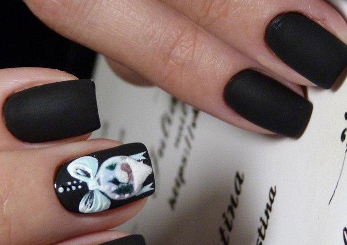 новогодние матовые ногти