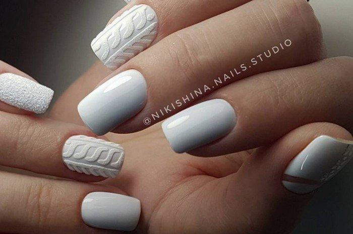 матовые белые вязанные ногти