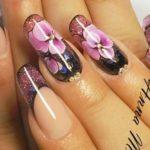 перламутровый френч с орхидеей