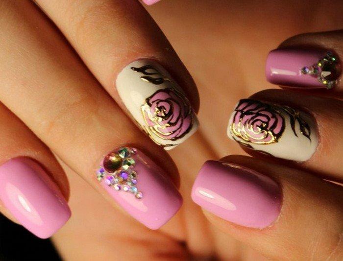 ногти с объемными цветами