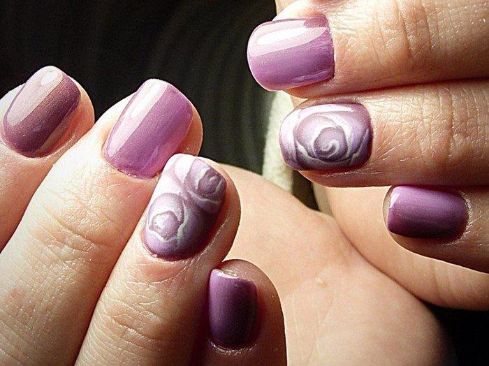 сиреневые ногти с рисунком