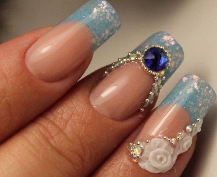 голубой френч с белой розой