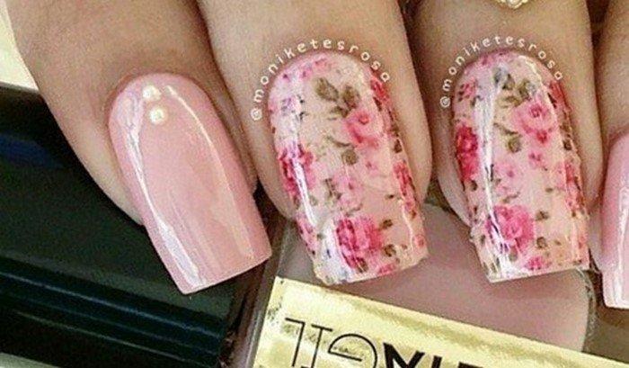 мелкие розы на ногтях