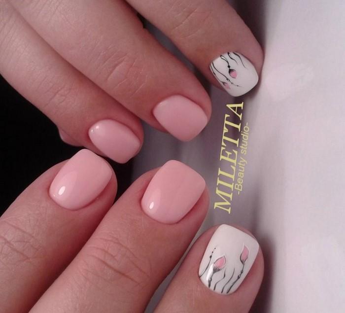 розово-белые ногти