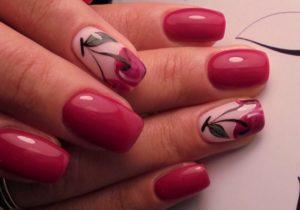 малиновые ногти с вишенками