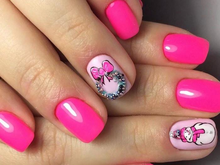 новогодние розовые ногти