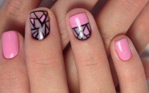 черно-розовая геометрия на ногтях