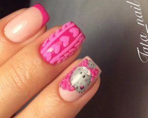 розовые ногти с вязаным рисунком