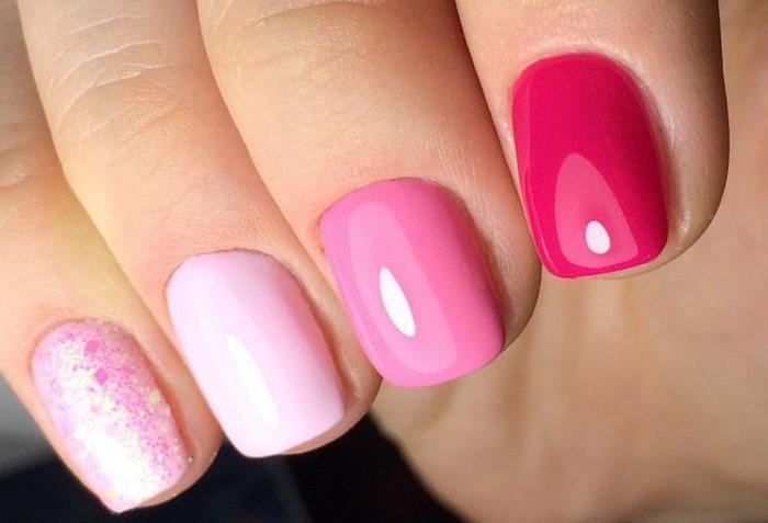 разноцветные розовые ногти