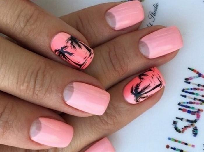 розовые ногти с пальмами
