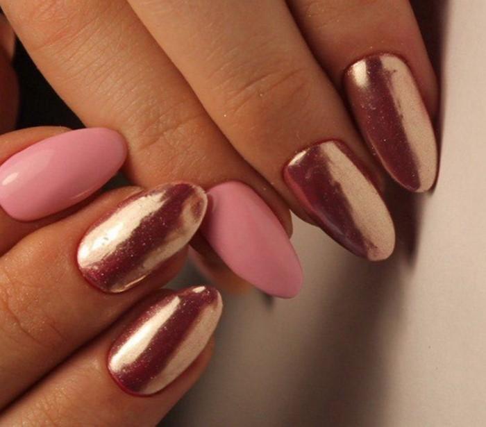 розово-золотые ногти
