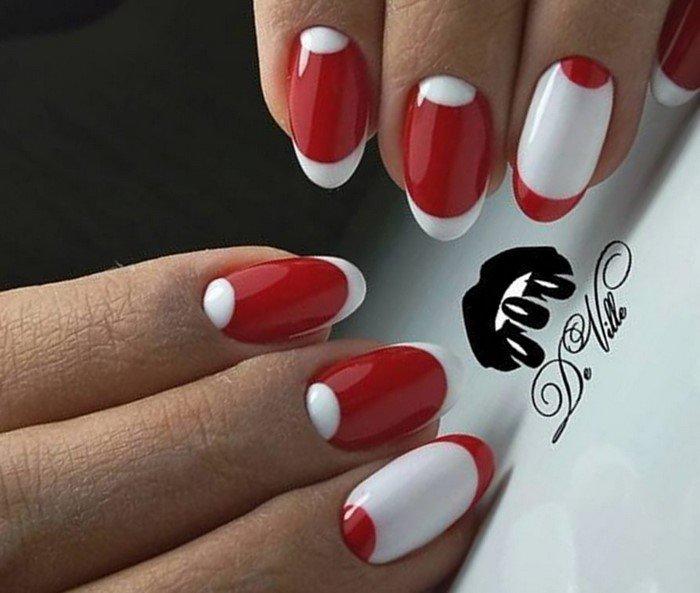 фото ногти красно белые