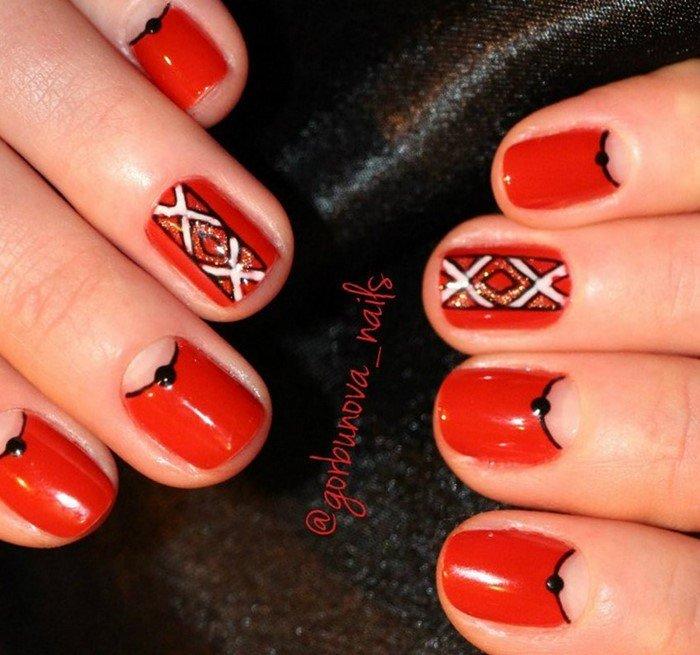 красные-ногти-с рисунком (100)
