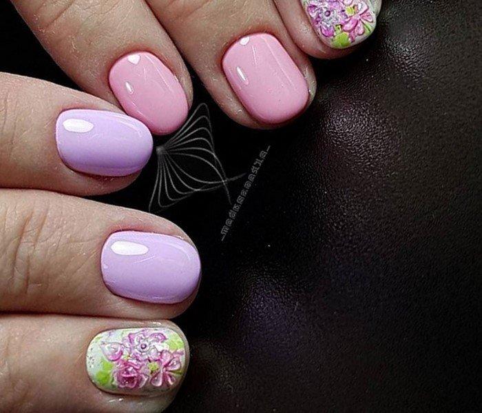 фиолетоворозовые ногти